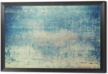 Horizontally oriented blue colored grunge background Framed Canvas