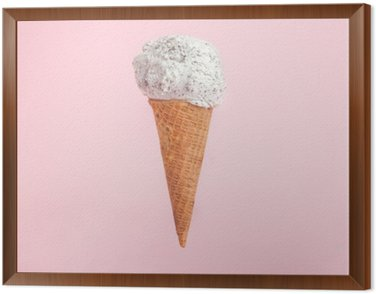 Framed Canvas icecream cone on pink background