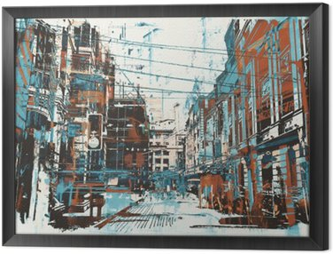 Framed Canvas illustration painting of urban street with grunge texture