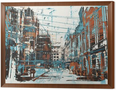 illustration painting of urban street with grunge texture Framed Canvas