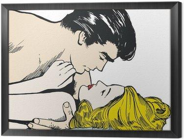 Framed Canvas Ilustracion parejas de enamorados