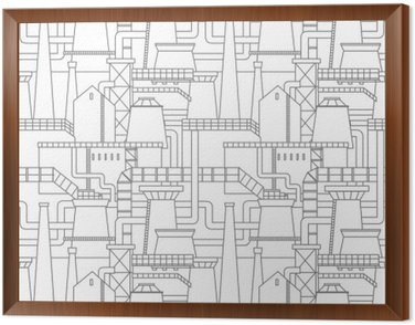 Framed Canvas Industrial city pattern
