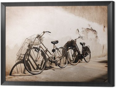 Framed Canvas Italian old-style bicycles leaning against a wall