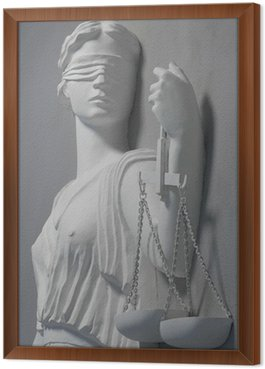 Framed Canvas justice statue