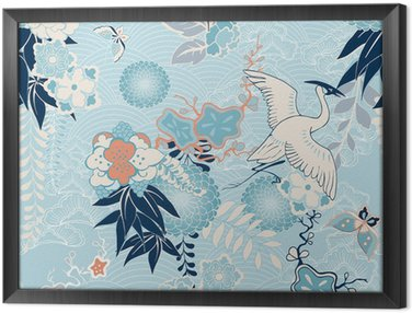 Kimono background with crane and flowers Framed Canvas