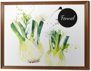 Framed Canvas Kitchen herbs and spices banner. Vector illustration. Watercolor