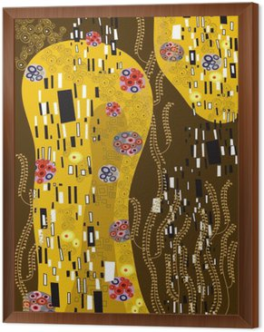 klimt inspired abstract art Framed Canvas