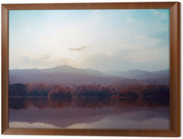 Landscape of lake mountains in autumn - vintage styles. Framed Canvas