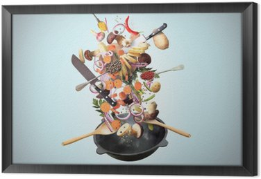 Large iron skillet with falling vegetables and mushrooms Framed Canvas