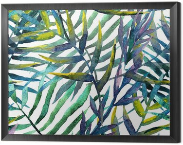leaves abstract pattern background wallpaper watercolor Framed Canvas