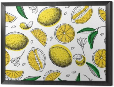 Lemon vector seamless pattern. Drawing lemon colorful background Framed Canvas