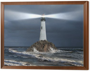 Framed Canvas Lighthouse with a beam of light