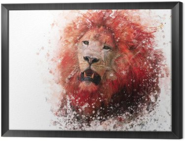 Framed Canvas Lion Head watercolor