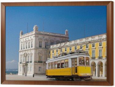 Lisbon yellow tram at central square Praca de Comercio, Portugal