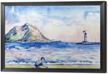 Framed Canvas little boy on the beach. Seascape with lighthouse. Watercolor painting