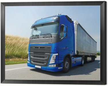 Framed Canvas lorry with trailer driving on highway