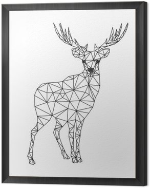 Framed Canvas Low poly character of deer. Designs for xmas. Christmas illustration in line art style. Isolated on white background.