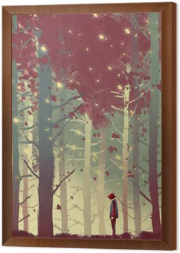 man standing in beautiful forest with falling leaves,illustration painting