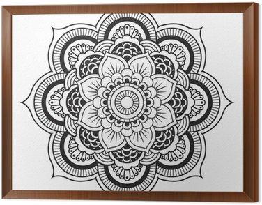 Framed Canvas Mandala. Round Ornament Pattern