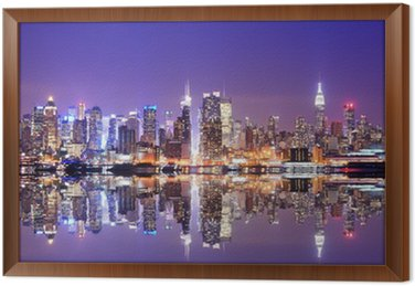 Framed Canvas Manhattan Skyline with Reflections