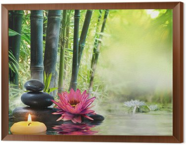 Framed Canvas massage in nature - lily, stones, bamboo - zen concept