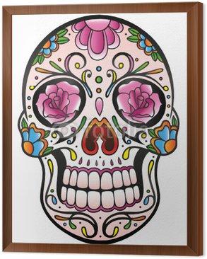 Framed Canvas Mexican Sugar Skull, Totenkopf, bunt, vector