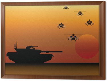 Framed Canvas Military Tank and Helicopters