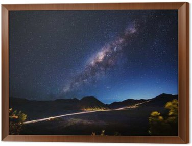 Milky way across Mt.Bromo,East Java,Indonesia Framed Canvas
