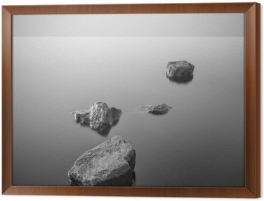 Framed Canvas Minimalist misty landscape. Black and white.