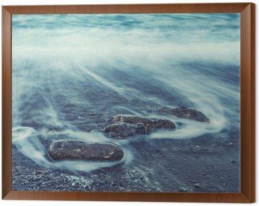 Framed Canvas Minimalist Seascape. Coastal Sunrise.