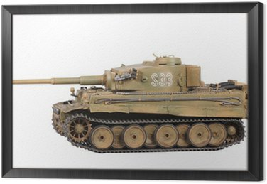 Framed Canvas Model of tank Tiger isolated