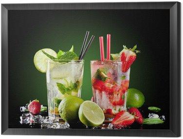 Mojito drinks on black background