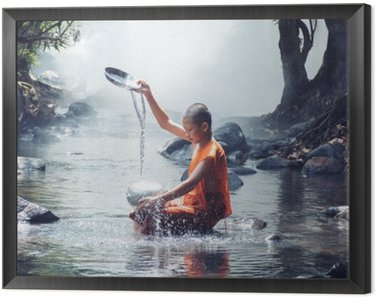Framed Canvas monk play water