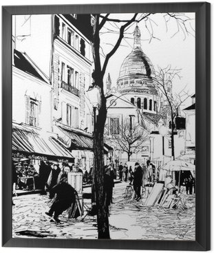 Framed Canvas Montmartre in winter