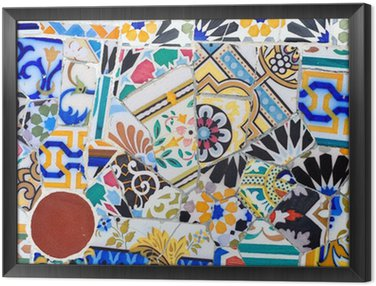 Mosaic detail in Guell park in Barcelona Framed Canvas