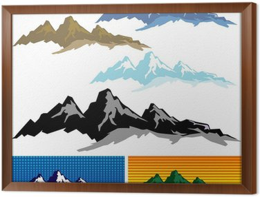 Framed Canvas Mountain And Hills ICONs - Editable And Layered Vector