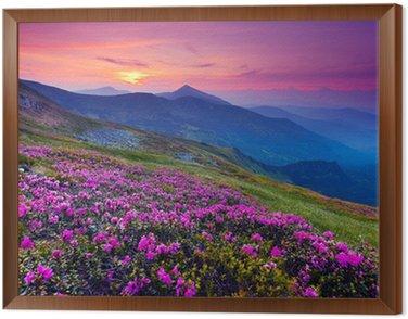 Framed Canvas mountain landscape