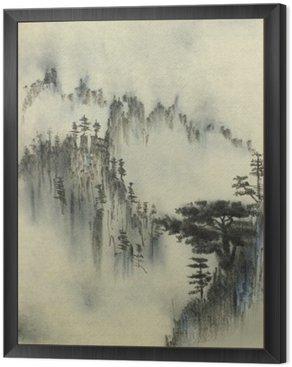 Framed Canvas Mountain pine and fog