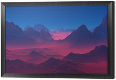Framed Canvas Mountains at sunset.