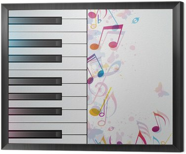 Framed Canvas Music background with piano
