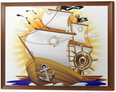 Nave Pirata Cartoon Pirate Ship-Vector