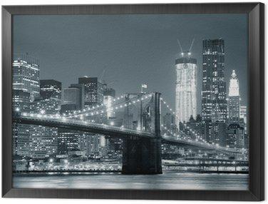 Framed Canvas New York City Brooklyn Bridge