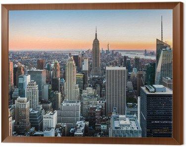 Framed Canvas New York Skyline at sunset