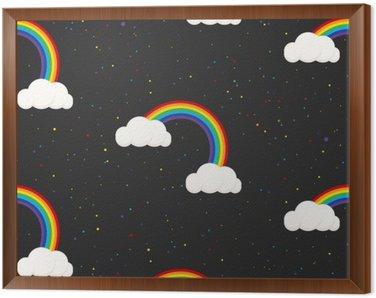 Night sky fantasy kid seamless pattern. Star confetti, clouds and rainbow boy grey wallpaper and fabric design.
