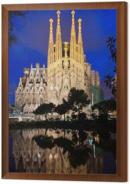 Night view of Sagrada Familia in Barcelona. Spain Framed Canvas