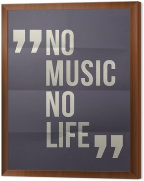 """No music no life"" quote on folded in eight paper background"