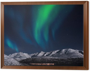 Framed Canvas Northern lights above fjords in northern Norway.