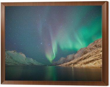 Framed Canvas Northern lights, Ersfjordbotn, Tromso, Norway