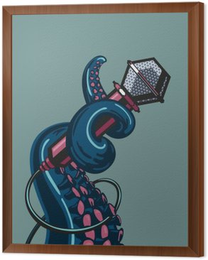 Framed Canvas Octopus tentacle is holding a microphone. The template for music posters