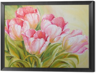 Oil Painting tulips Framed Canvas